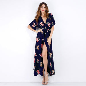 Floral Print Deep V Bohemian Beach Summer Women Long Dress