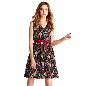 Women Sweet Print Floral Fashion Casual Style Vintage Dress