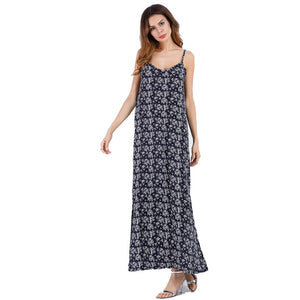 Women Elegant Backless Floral Print Long Dress For Summer Beach