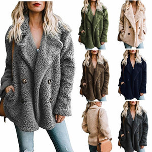 Thick Teddy Coat Casual Fleece Faux Fur Plush Jacket Casual Solid Warm Trench  Windbreaker