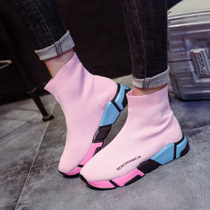 Sock  Platform Candy Color Female Casual Shoes Black  High Top Sneakers
