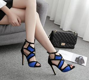 spell color color stilettos hollow open-toed sandals fashion and casual shoes