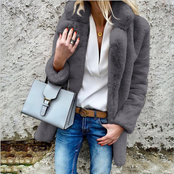 Autumn Winter Faux Fur Teddy Coat Jacket Women Fashion