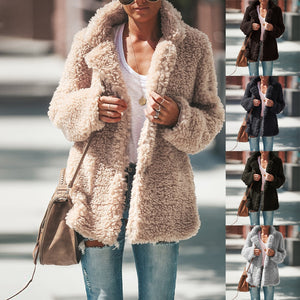 Women Chic Fleece Fur Jacket Teddy Coat Winter Warm Fluffy Coats