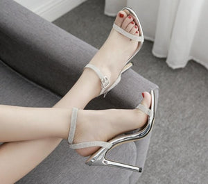 sandals heels diamond cross clasp dewy toe shoes