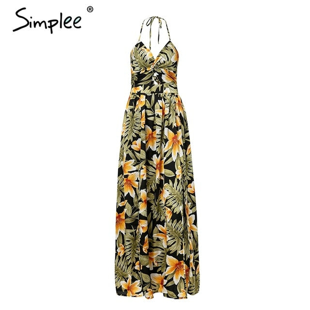 Sexy V Neck Maxi Long Vintage High Waist Backless Floral Print Sundress