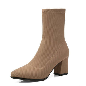 Autumn Winter Shoes Fashion Stretch Socks Ankle Boots Pointed Toe High Heels