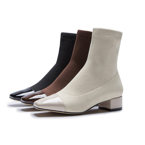 Fashion Socks Boots Women Fall Shoes Nude Autumn Square Toe Low Heel Booties
