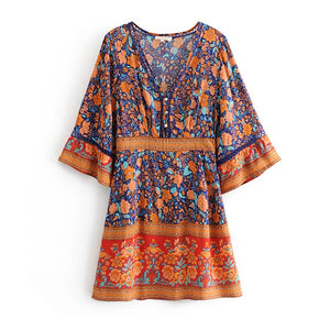Vintage Floral Print V-Neck Button Front Flare Sleeve Dress Boho Chic