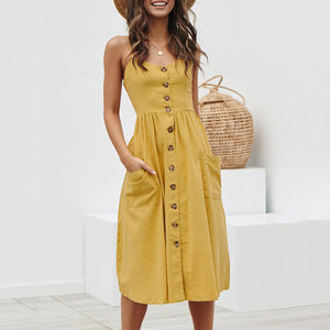 Ladies Sexy Backless Deep V Neck Buttons Spaghetti Strap Pockets Dress