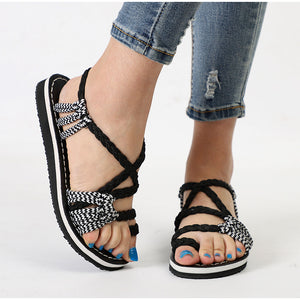 Sandals Rome Cross Tied Sewing Flats Retro Bohemia Ankle Strap Shoes