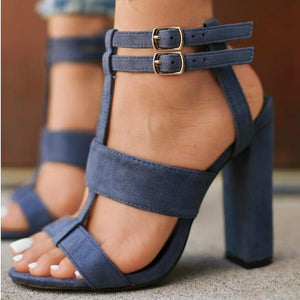 High Heels  Gladiator  Sandals Double Buckle Square Heels Flock Shoes