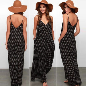 Brand Black Boho Loose Beach Vintage Sexy Casual Maxi Dress