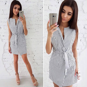 Ladies Stripe Print Casual V-Neck Sleeveless Loose Office Dress