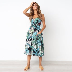 Women Boho Sexy Casual Backless Summer Dress