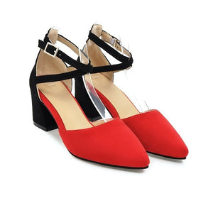 Square High Heels Women Sandals Pointed Toe Summer Shoes