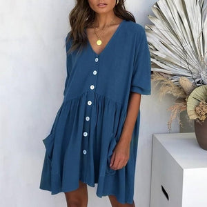 Women Sexy V-Neck Buttons Elegant Short Sleeve Pockets Loose Dress