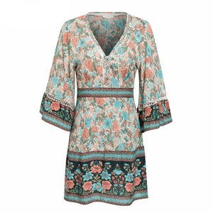 Sexy Floral Print Bohemian Flare Sleeve V Neck Ethnic Vintage Short Dress
