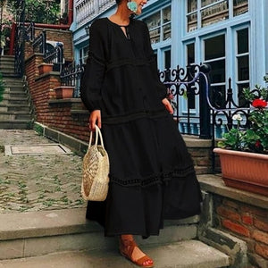 Bohemian Maxi Long Lantern Sleeve V Neck Hollow Dresses