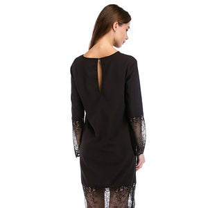 Autumn Summer Women Hollow Out Long Sleeve Lace Black Dresses