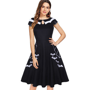 Gothic Summer Vestidos Black Bat Embroidery Hollow-Out Block Dresses