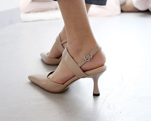 Genuine Leather High Heels Women Sandals Pointed Toe Buckle Strap Shoes