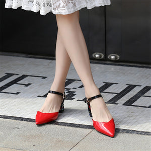 High Quality PU Pointed Toe Casual Mixed Colors Sandals Square Heel Shoes Woman