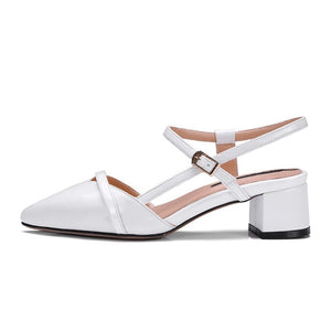 Top Quality Cow Patent Leather Pointed Toe Buckle Women Sandals