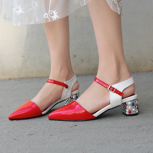 Genuine Leather Sandals Pointed Toe Rhinestone Heels Buckle Strap Shoes