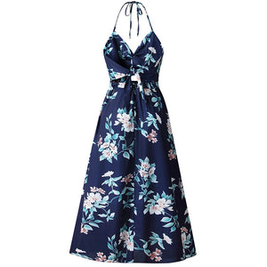 Floral Print Maxi Sleeveless Backless Lace Up Vintage Sexy Beach Dress