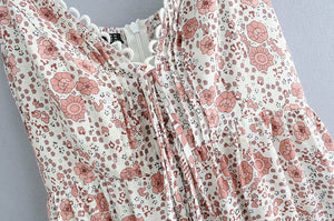 V-Neck Straps Sexy Short Pink Floral Print Hippie Casual Women Dresses Vestidos