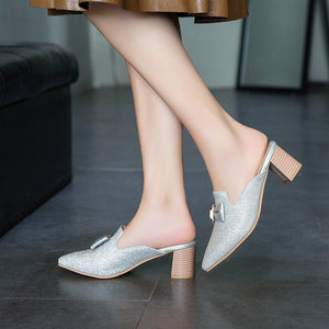 New Style Slingback Sandals Pointed Toe High Heels Mule Shoes Woman