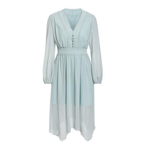 Elegant Women Chiffon Long Sleeve Dresses V Neck Hair Ball
