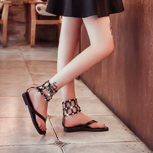 Fashion  Flat Solid Casual Buckle Strap Sandals Low Heel Comfort Buckle Female shoes