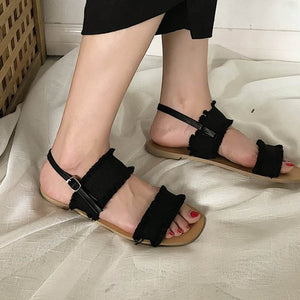Front&Rear Strap Fashion  Shoes Solid Fringe Buckle Strap Causal Flat Sandals