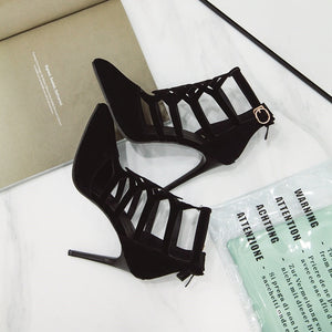 Woman Gladiator Sandals Pointed Toe Sexy High Heels Stilettos Flock Summer Party Shoes