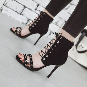 Gladiator Sandals Lace Up Stiletto High Heels Party Club Shoes