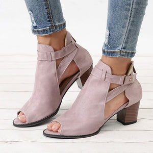 Fashion Fish Mouth Rome Hollow Out Square Heel Spring Summer Ladies Sandals
