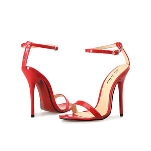 Black Round Toe High Heel Sandals Buckle Pumps Red Bottom Women Shoes
