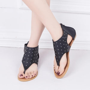 Flat Ankle Zipper Foot Rivet Leather Gladiator Casual Open Toe Shoes