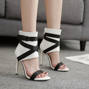 Women's Fabric Belt Rome Peep-Toe Collision Patchwork Stilettos High Heels Sandals
