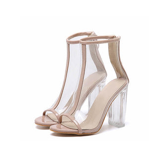 Women Clear Heel Transparent Boots Peep Toe Ankle Sandals Block Pumps