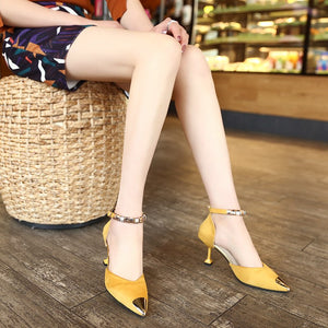 Spring Autumn Women Sexy Buckles High Heels Shoes Metal Pointed Toe Shoes