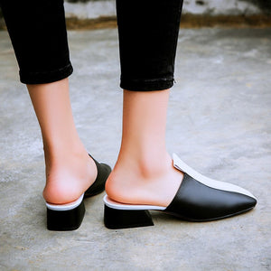 Genuine Leather Women Pumps Square Toe Mixed Colors Party shoes