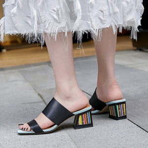 Genuine Leather Sandals High Heels Summer Outside Slippers Party Wedding Shoes