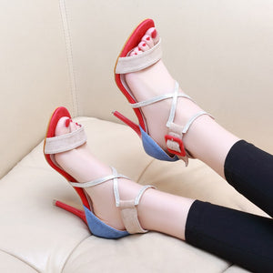 Women Sandals Mixed Color Stiletto High Heels Summer Sexy Prom Shoes