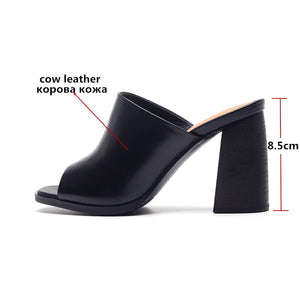 Genuine leather Slipper Outside Sandals Peep Toe Solid Colors Woman Shoes