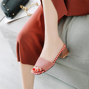 Women Sandals Flock Square Heels Summer Simple Mule Party Wedding Shoes