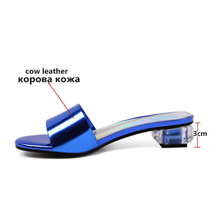 Genuine Leather Women Sandals Square Crystal Heels Elegant Shoes