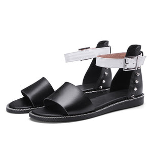 Women Gladiator Sandals Rivet Buckle Genuine Leather Flat Summer Shoes